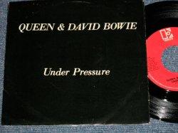 """画像1: QUEEN & DAVID BOWIE  - A) UNDER PRESURE  B) SOUL BROTHER (Ex++/MINT- ) / 1981 US AMERICA ORIGINAL Used 7""""Single with PICTURE SLEEVE"""