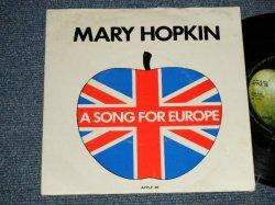 """画像1: MARY HOPKIN -  """"A SONG FOR EUROPE""""  A) KNOCK KNOCK WHO'S THERE?  B) I'M GOING TO  (Ex++/Ex++ ) / 1970 UK ENGLAND ORIGINAL Used 7"""" Single with PICTURE SLEEVE"""